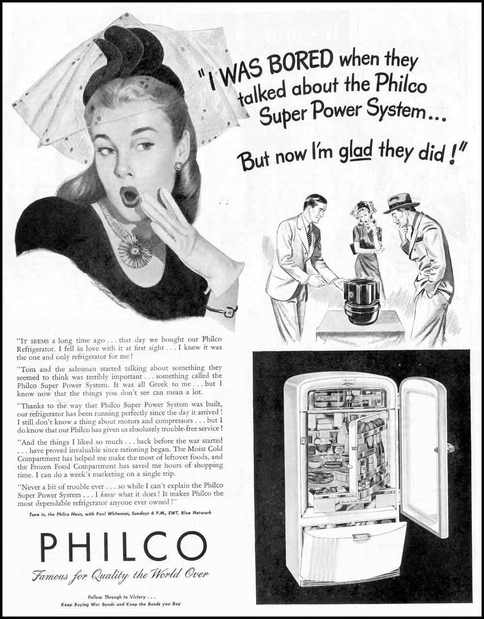 PHILCO REFRIGERATORS SATURDAY EVENING POST 05/19/1945 p. 3