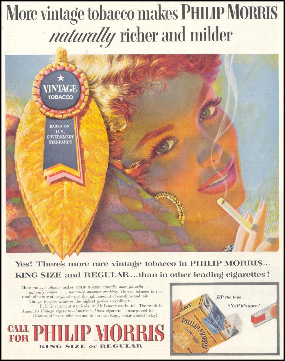 PHILIP MORRIS CIGARETTES SATURDAY EVENING POST 02/05/1955 p. 73