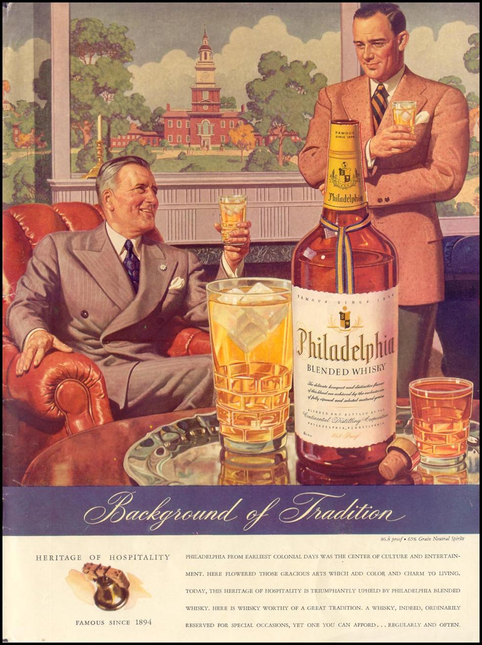 PHILADELPHIA BLENDED WHISKEY LIFE 11/08/1943 INSIDE BACK