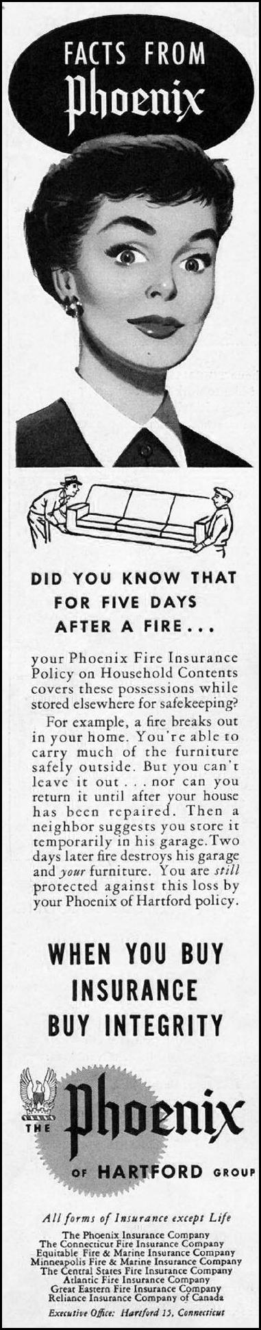 FIRE INSURANCE SATURDAY EVENING POST 06/04/1955 p. 124