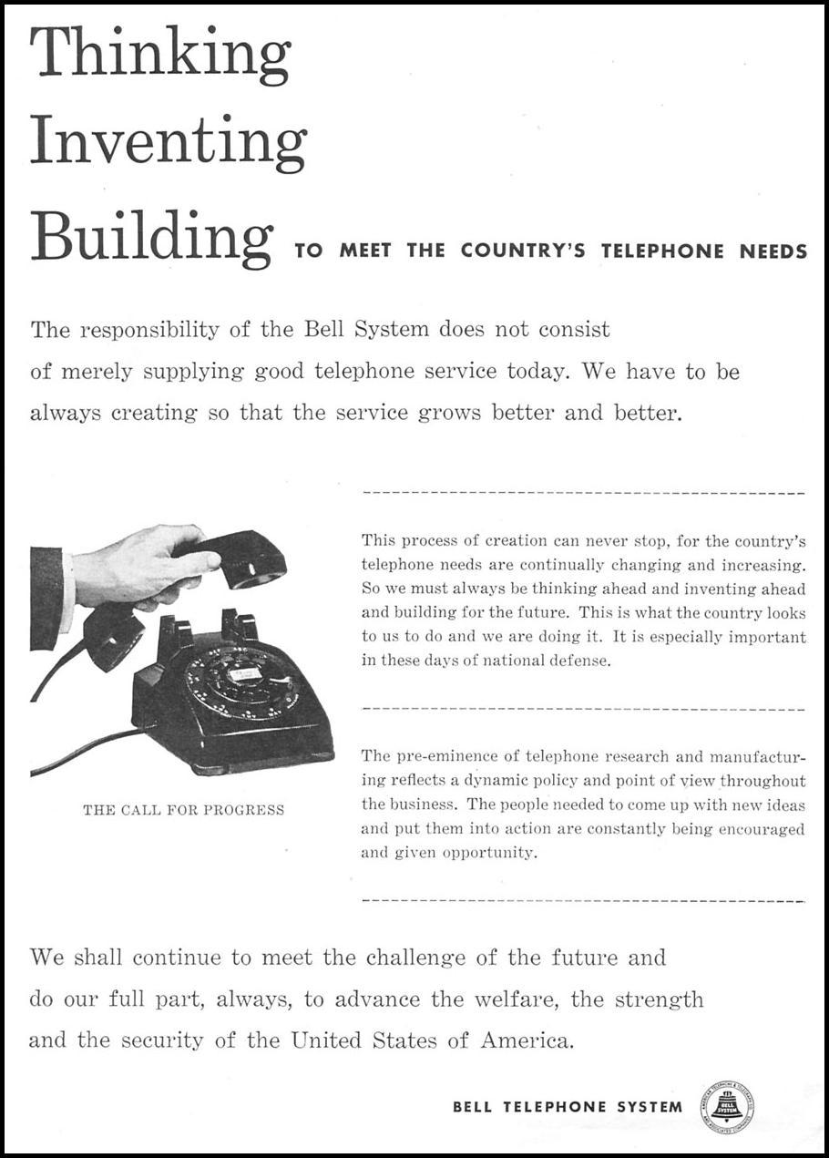 TELEPHONE SERVICE NEWSWEEK 09/03/1951 p. 3