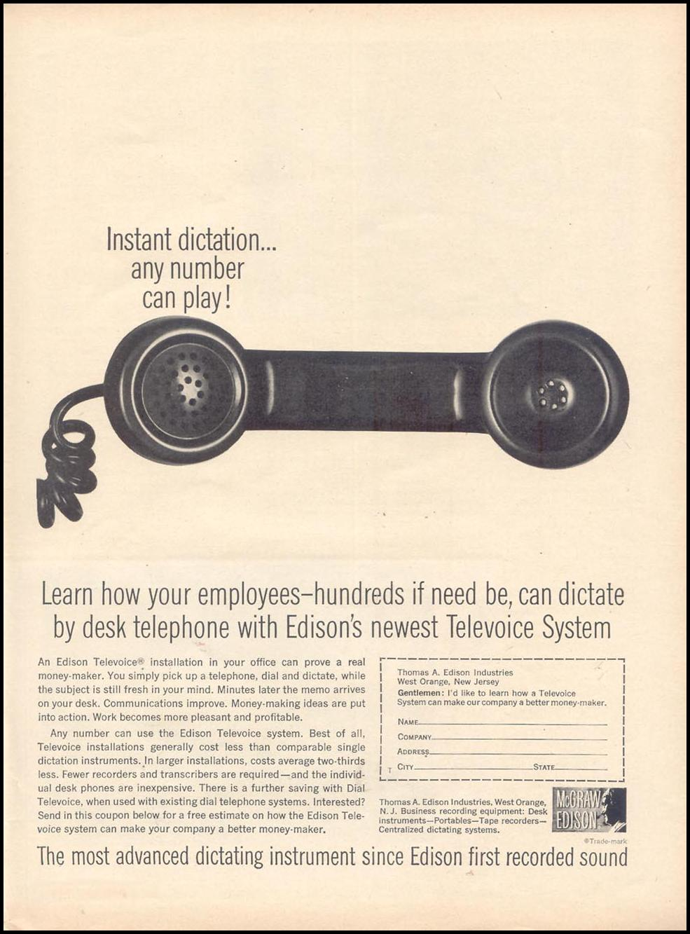 EDISON TELEVOICE DICTATION SYSTEM TIME 11/17/1961 p. 96