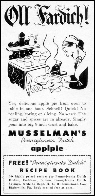 MUSSELMAN APPLE PIE FILLING WOMAN'S DAY 02/01/1950 p. 170
