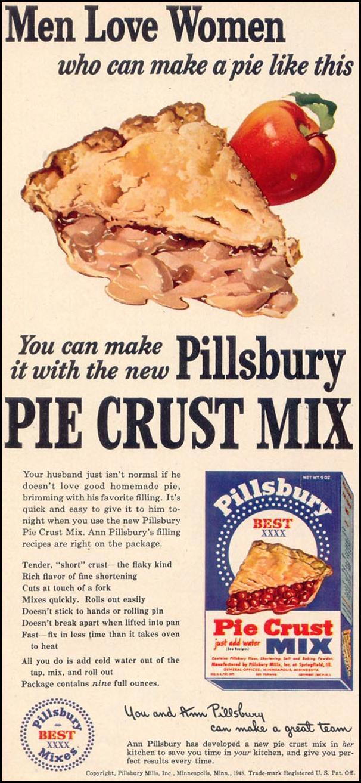 PILLSBURY PIE CRUST MIX WOMAN'S DAY 03/01/1948 p. 56