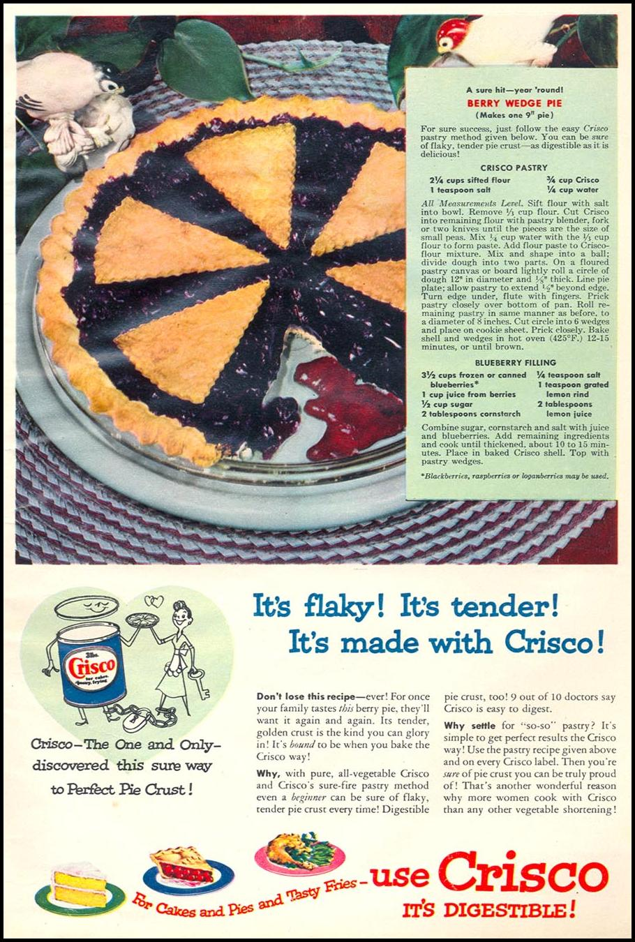 CRISCO VEGETABLE SHORTENING WOMAN'S DAY 06/01/1950 p. 9