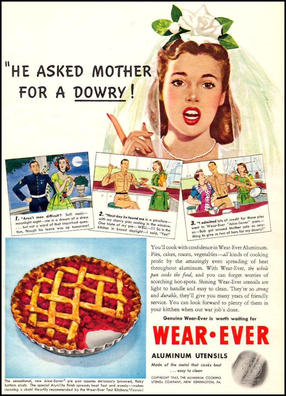 WEAR EVER ALUMINUM UTENSILS WOMAN'S DAY 07/01/1945 p. 17