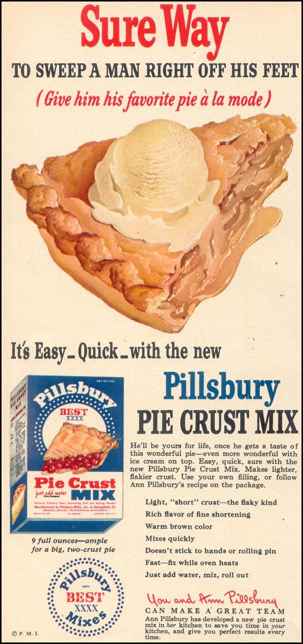 PILLSBURY PIE CRUST MIX WOMAN'S DAY 08/01/1948 p. 62