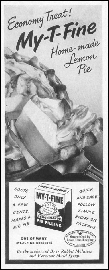MY-T-FINE PIE FILLING WOMAN'S DAY 10/01/1949 p. 128