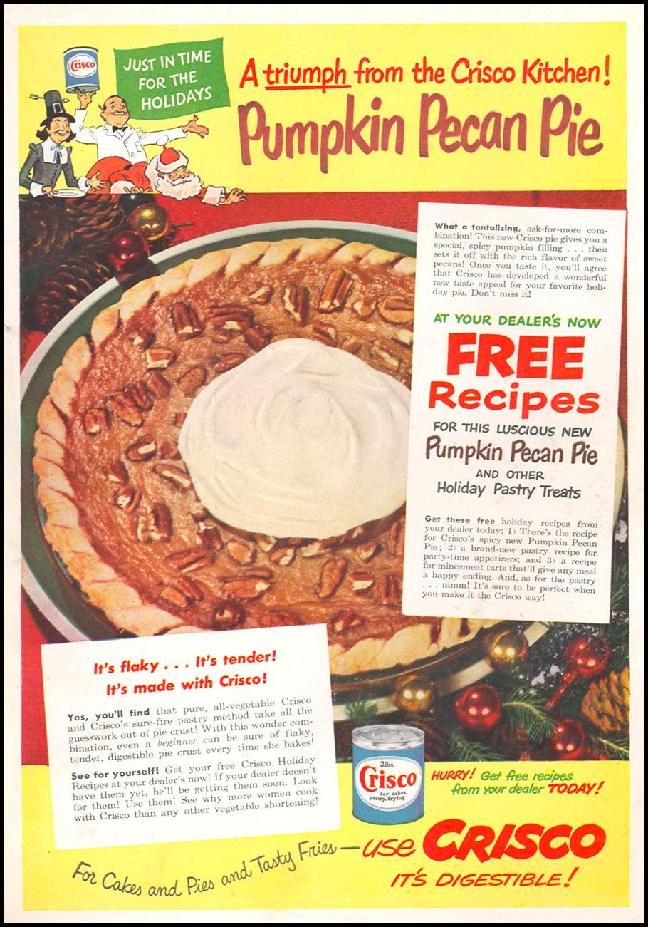 CRISCO VEGETABLE SHORTENING WOMAN'S DAY 11/01/1948 BACK COVER
