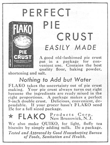 FLAKO PIE CRUST MIX GOOD HOUSEKEEPING 01/01/1932 p. 152
