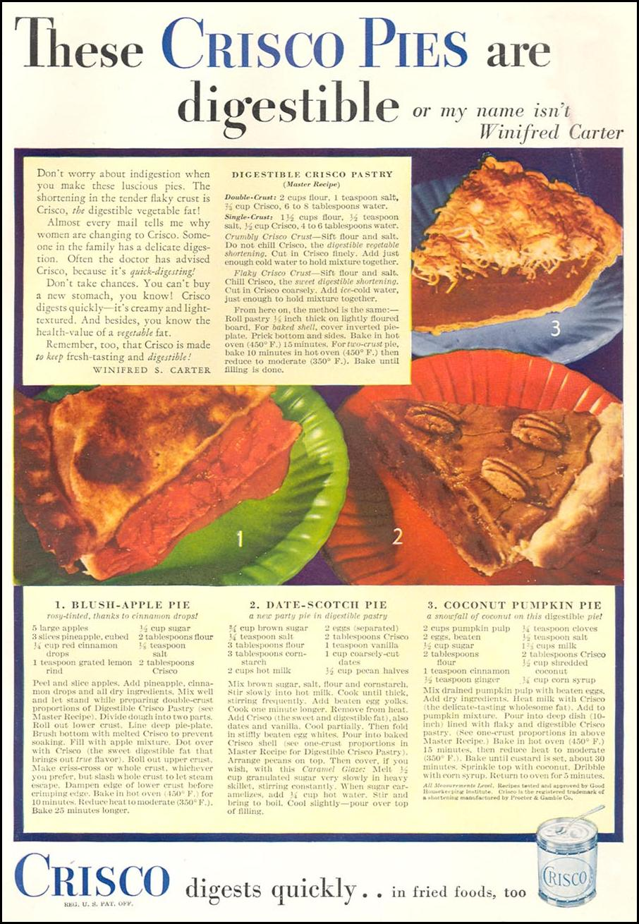 CRISCO VEGETABLE SHORTENING GOOD HOUSEKEEPING 12/01/1933 p. 101