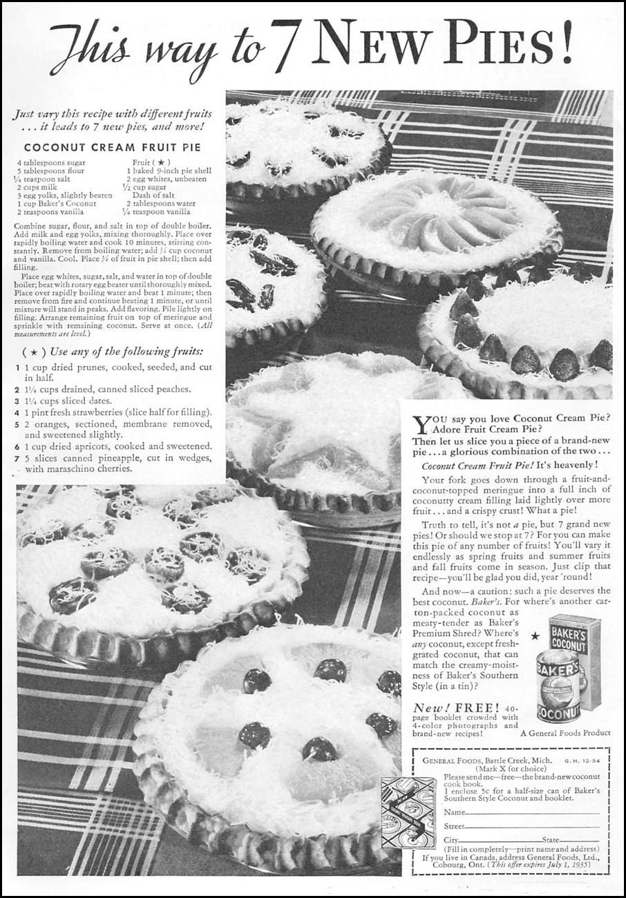 BAKER'S COCONUT GOOD HOUSEKEEPING 12/01/1934 p. 147