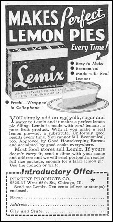 LEMIX LEMON PIE FILLING GOOD HOUSEKEEPING 12/01/1934 p. 201