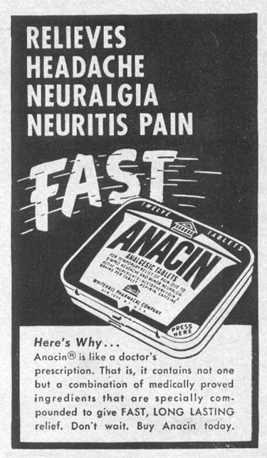 ANACIN ANALGESIC TABLETS LIFE 04/17/1950 p. 160