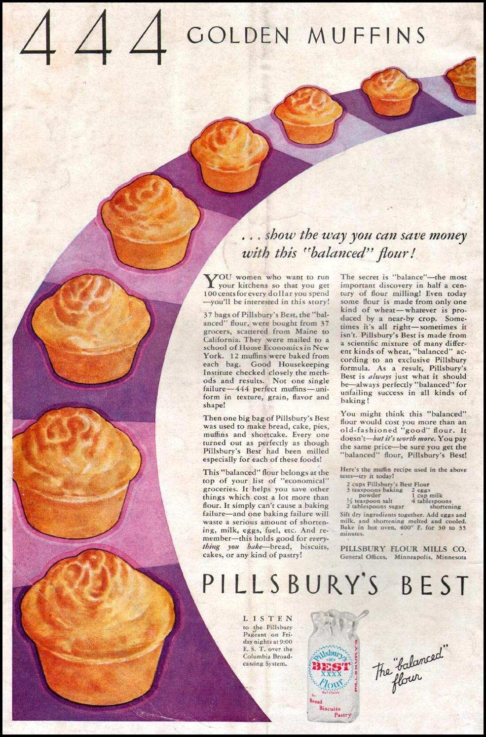 PILLSBURY FLOUR BETTER HOMES AND GARDENS 09/01/1931 BACK COVER
