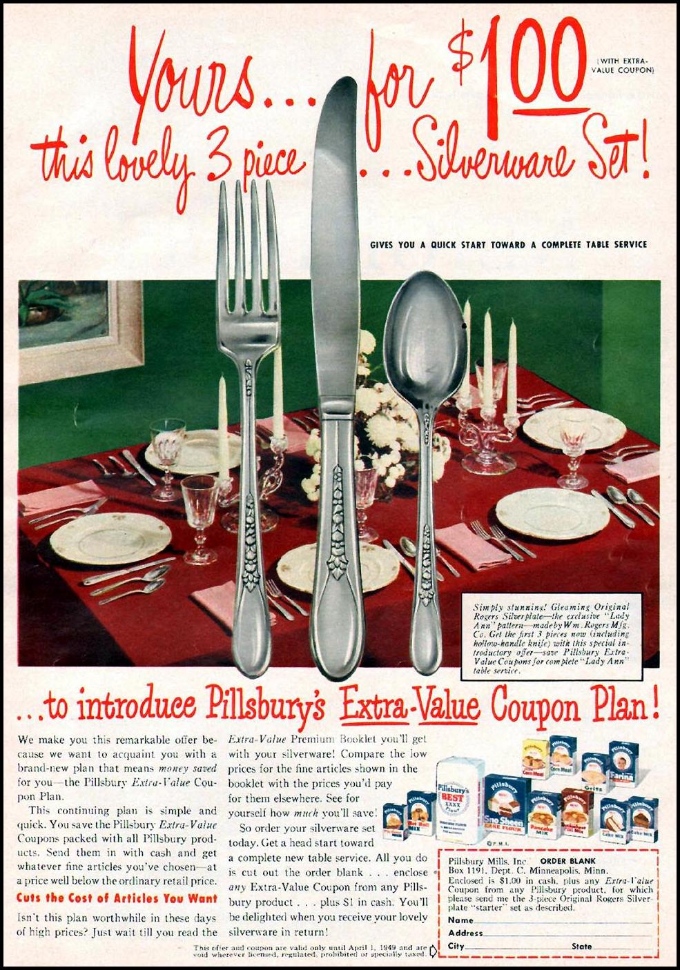 PILLSBURY PRODUCTS WOMAN'S DAY 01/01/1949 p. 11