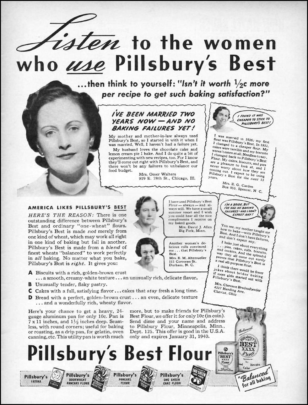 PILLSBURY'S BEST FLOUR GOOD HOUSEKEEPING 01/01/1940 p. 43