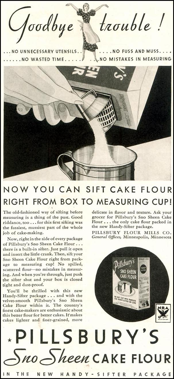 PILLSBURY'S SNO SHEEN CAKE FLOUR GOOD HOUSEKEEPING 11/01/1933 p. 175