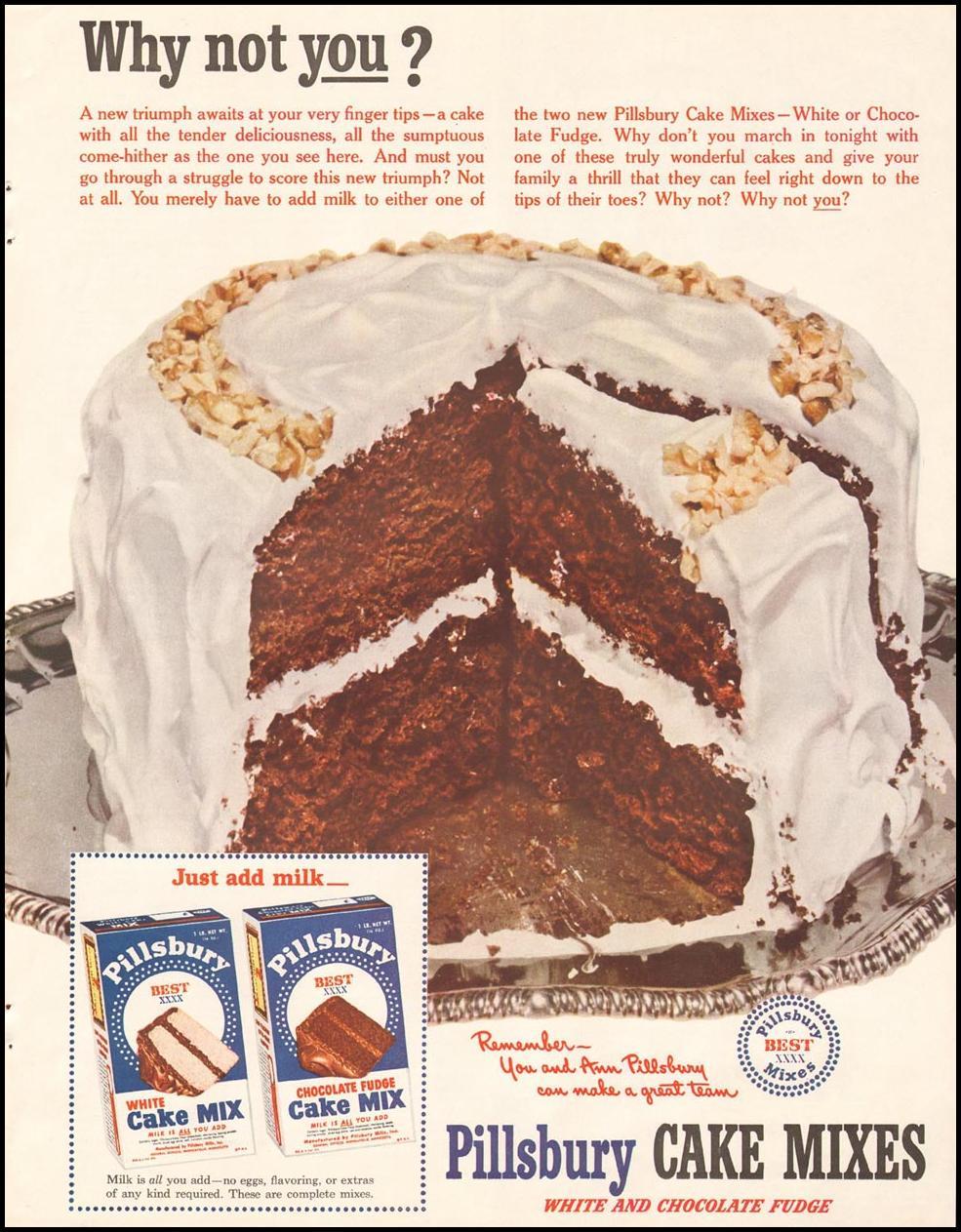 PILLSBURY CAKE MIXES LADIES' HOME JOURNAL 11/01/1950 p. 215