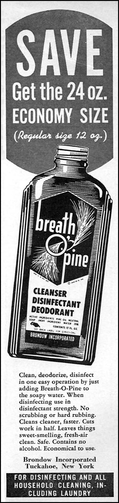 BREATH O' PINE CLEANSER WOMAN'S DAY 06/01/1958 p. 99