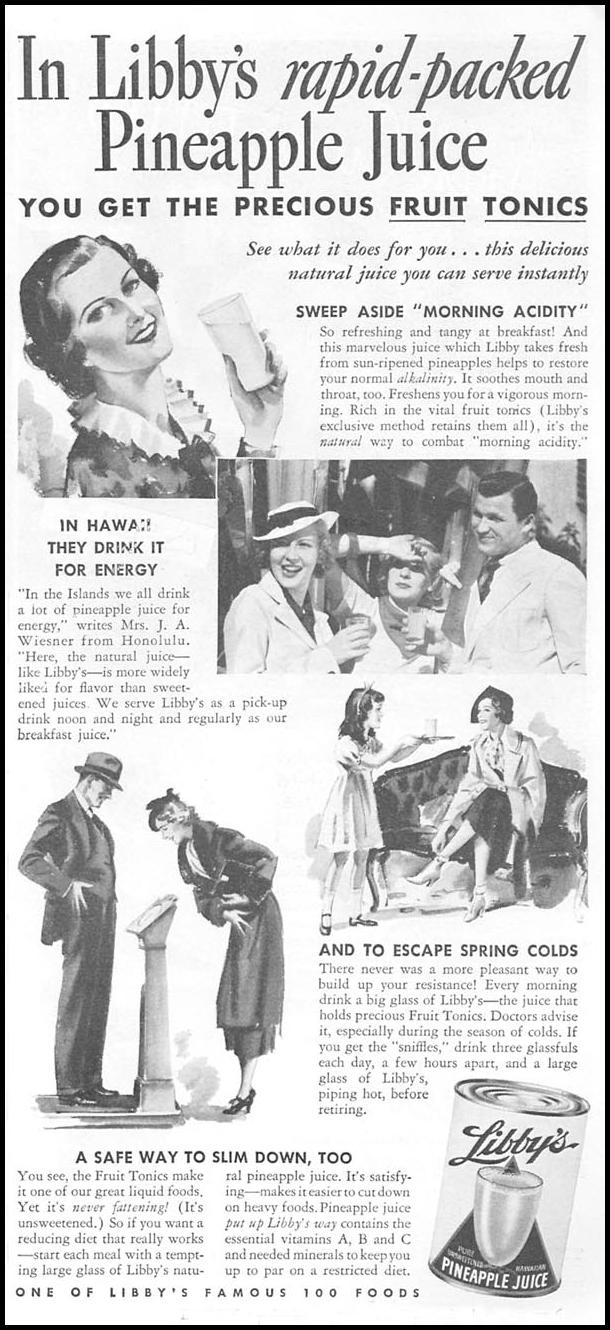 LIBBY'S PINEAPPLE JUICE GOOD HOUSEKEEPING 04/01/1936 p. 195