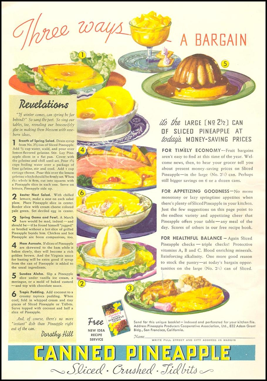 CANNED PINEAPPLE GOOD HOUSEKEEPING 04/01/1936