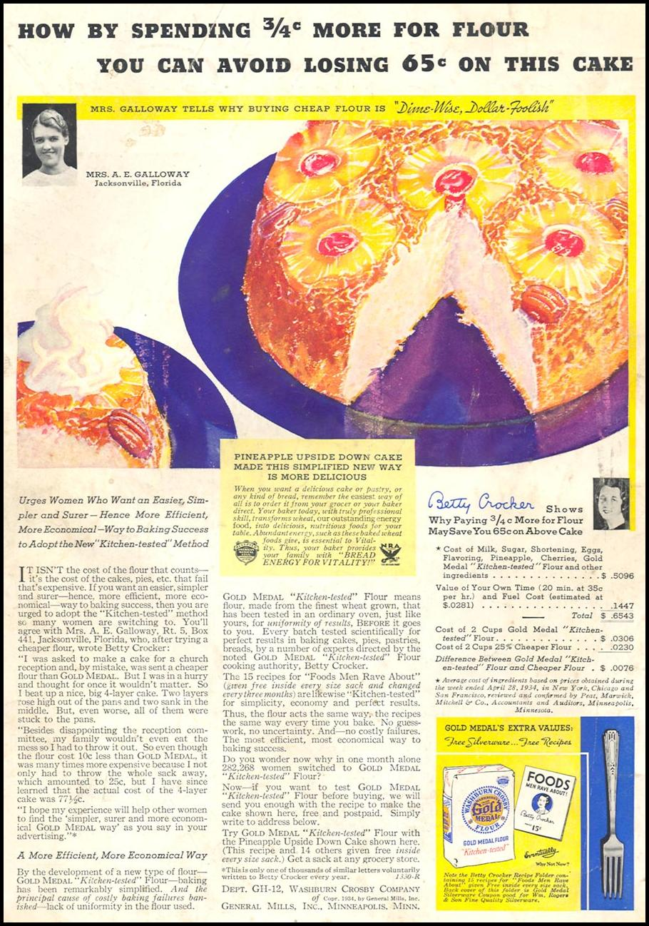 GOLD MEDAL FLOUR GOOD HOUSEKEEPING 12/01/1934 BACK COVER