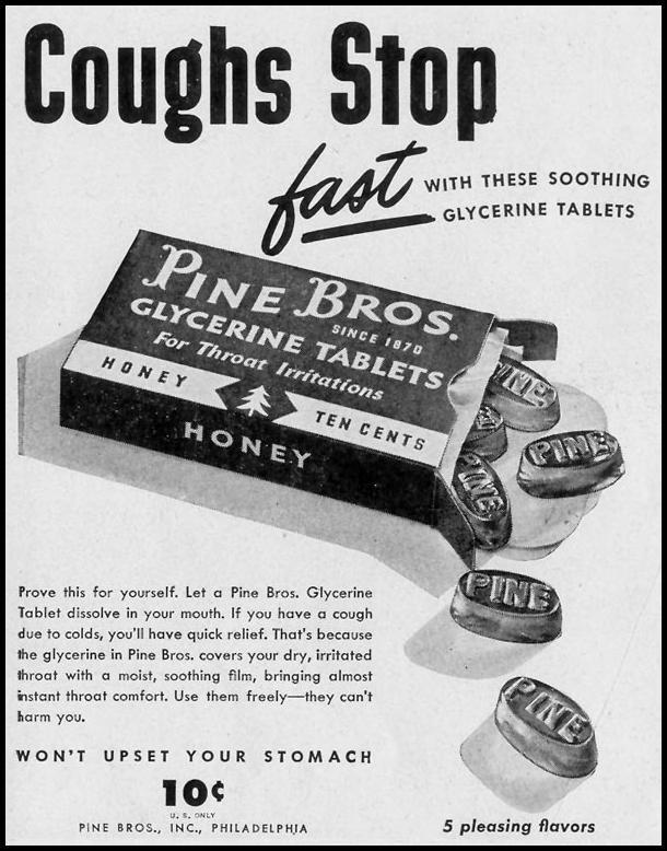 PINE BROS. GLYCERINE TABLETS LIFE 11/15/1948 p. 103