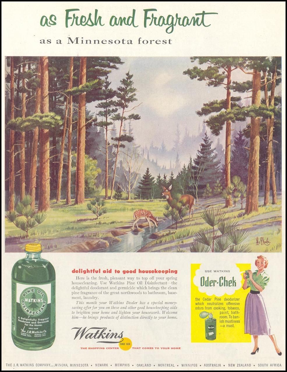 WATKINS PINE OIL DISINFECTANT SATURDAY EVENING POST 04/09/1955 p. 123