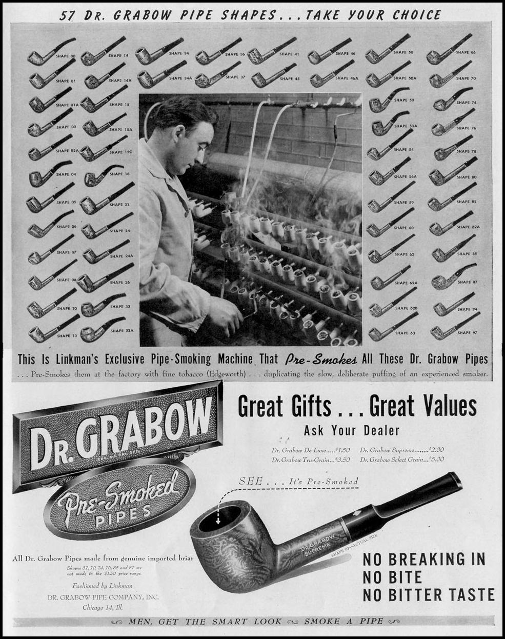 DR. GRABOW PRE-SMOKED PIPES LIFE 11/15/1948 p. 141