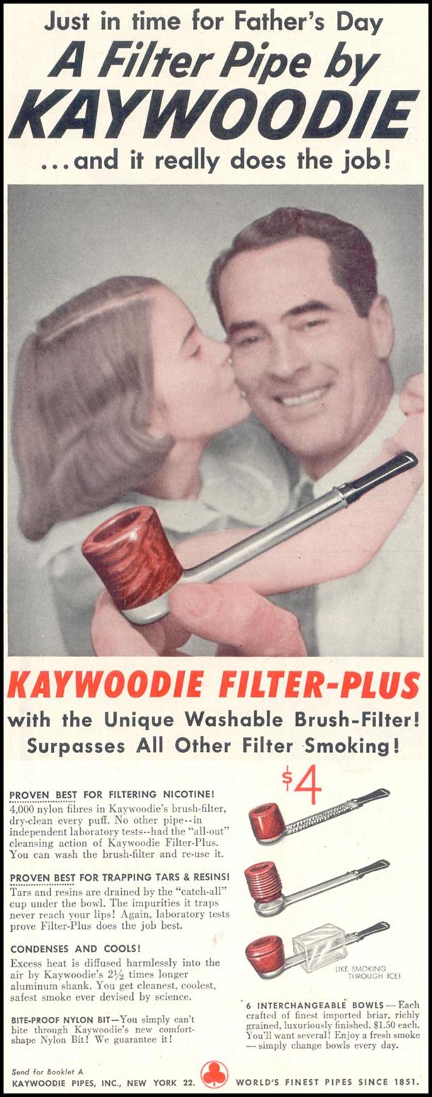 KAYWOODIE FILTER-PLUS PIPE SATURDAY EVENING POST 06/04/1955 p. 112