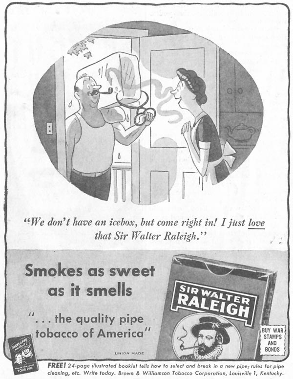 SIR WALTER RALEIGH PIPE TOBACCO SATURDAY EVENING POST 10/06/1945 p. 80