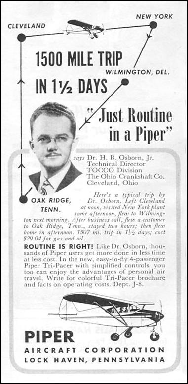 PIPER TRI-PACER NEWSWEEK 08/20/1951 p. 84