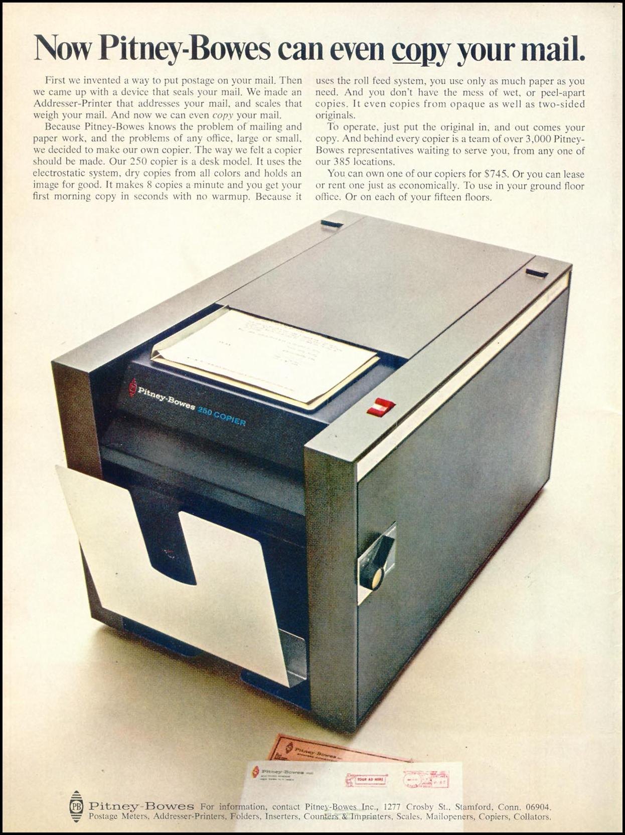 PITNEY-BOWES COPIERS TIME 04/21/1967 INSIDE FRONT
