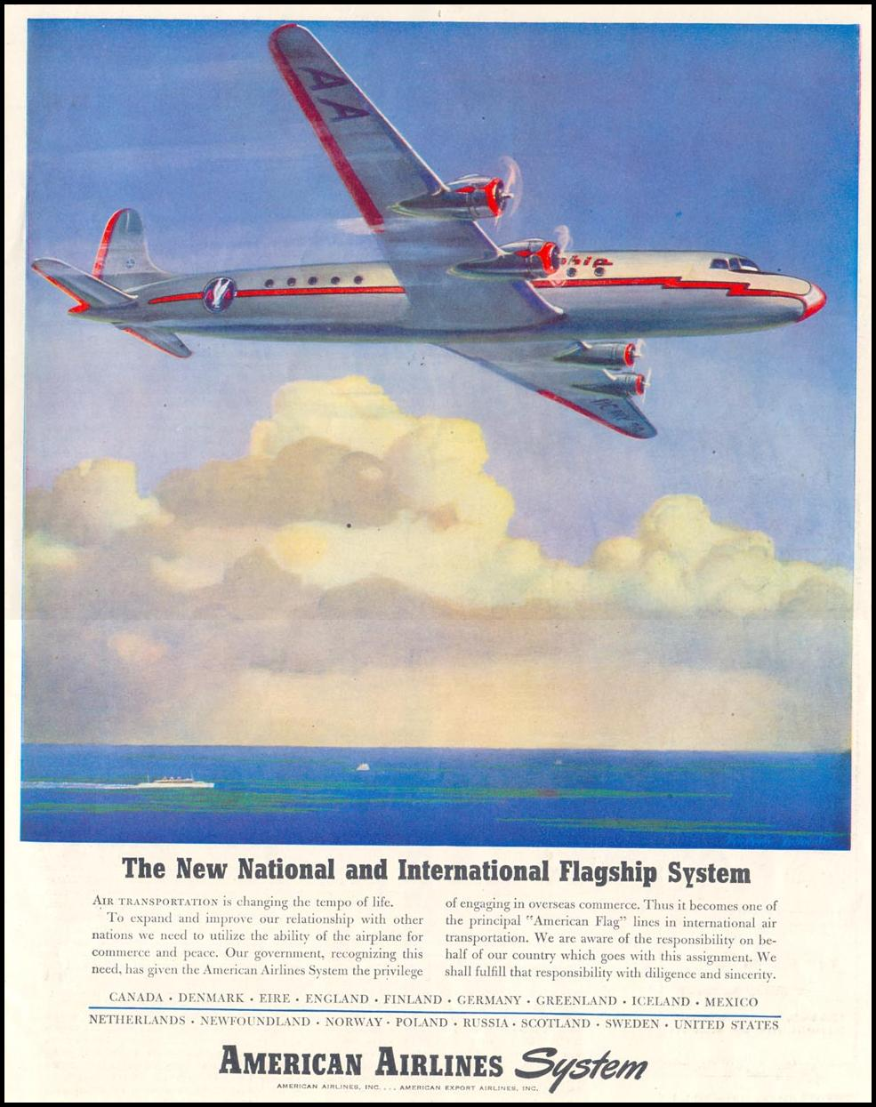 AIR TRAVEL SATURDAY EVENING POST 10/06/1945 p. 5