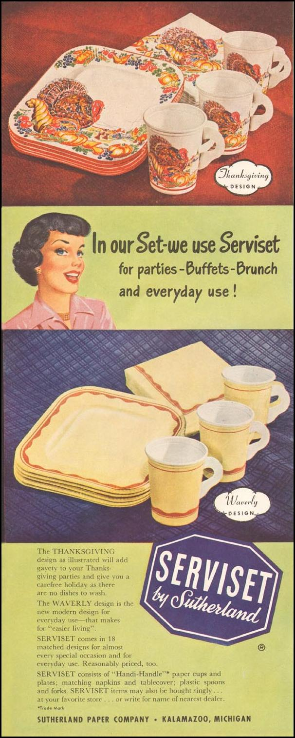 SERVISET PAPER PLATES LADIES' HOME JOURNAL 11/01/1950 p. 210