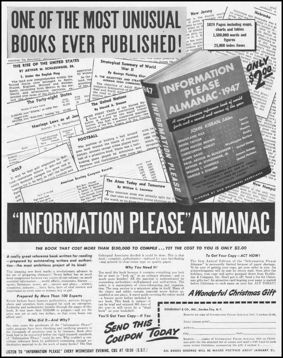 INFORMATION PLEASE ALMANAC LIFE 11/25/1946 p. 17