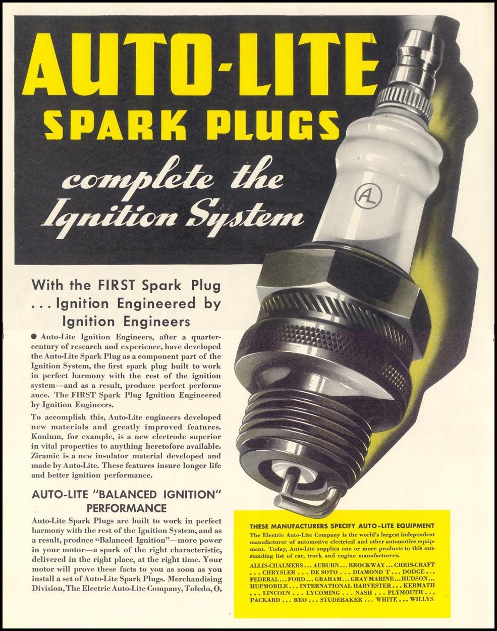 AUTO-LITE SPARK PLUGS LIFE 07/26/1937