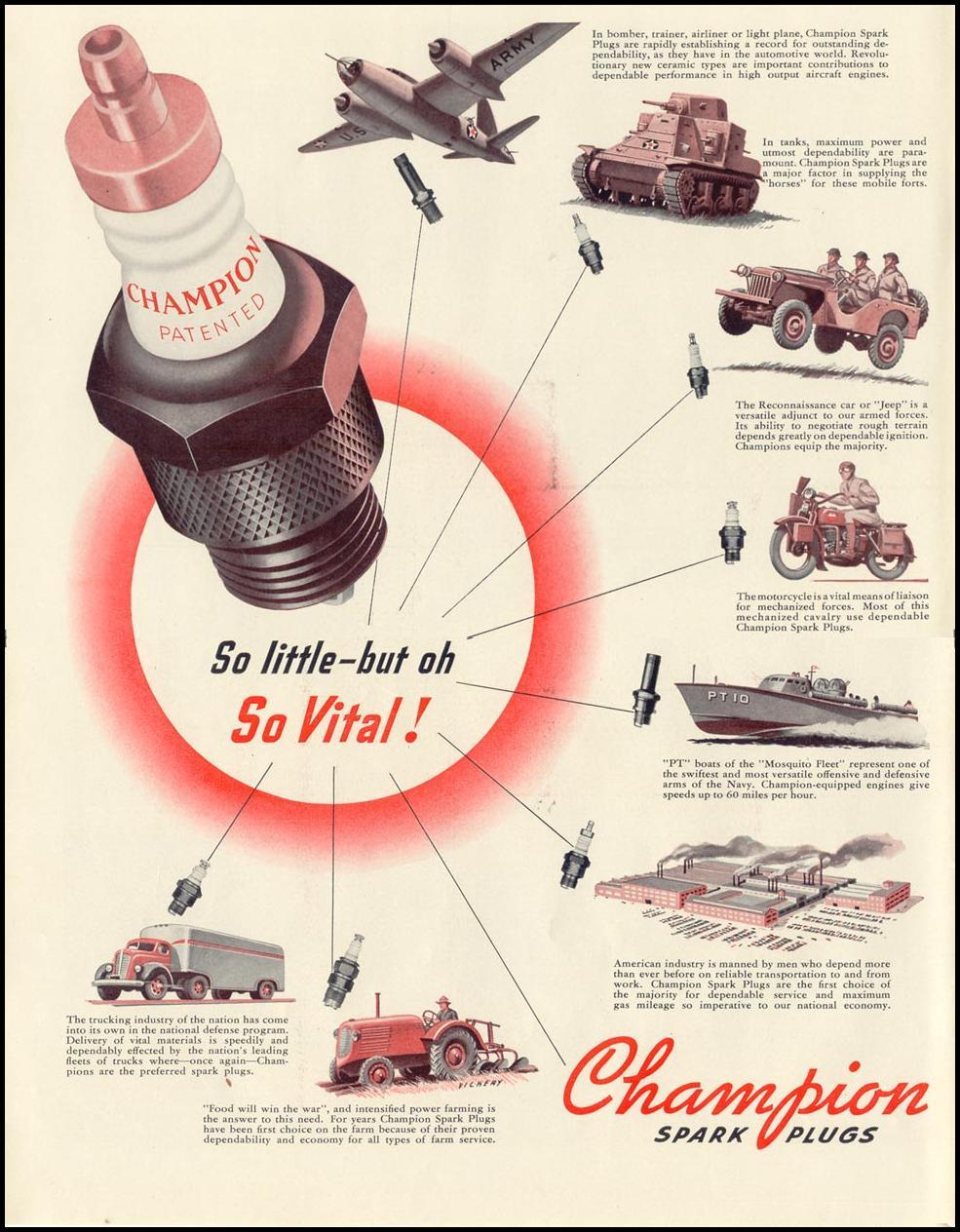 CHAMPION SPARK PLUGS LIFE 10/13/1941