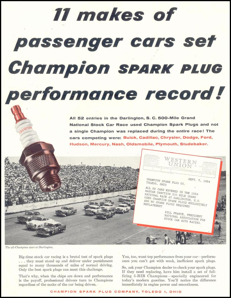 CHAMPION SPARK PLUGS SATURDAY EVENING POST 01/08/1955 p. 57
