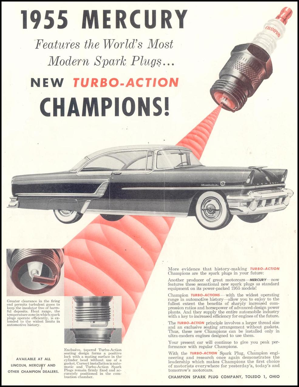 CHAMPION SPARK PLUGS SATURDAY EVENING POST 02/05/1955