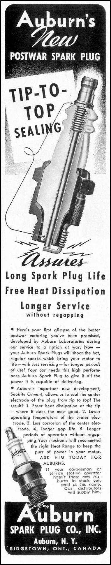 AUBURN SPARK PLUGS SATURDAY EVENING POST 10/06/1945 p. 97