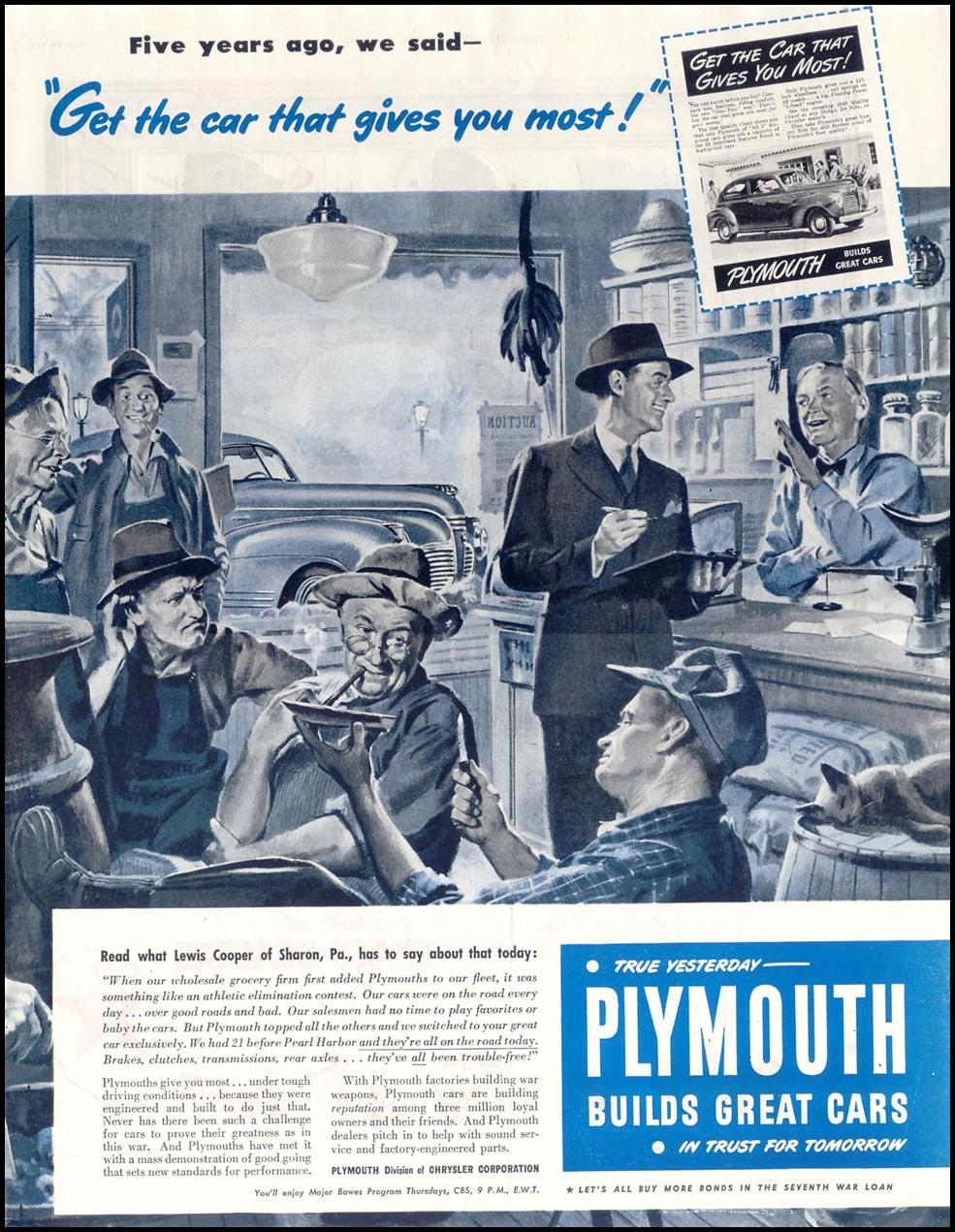 PLYMOUTH AUTOMOBILES SATURDAY EVENING POST 05/19/1945