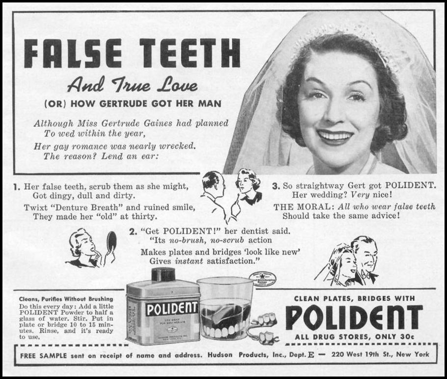 POLIDENT DENTURE CLEANSER WOMAN'S DAY 04/01/1941 p. 61