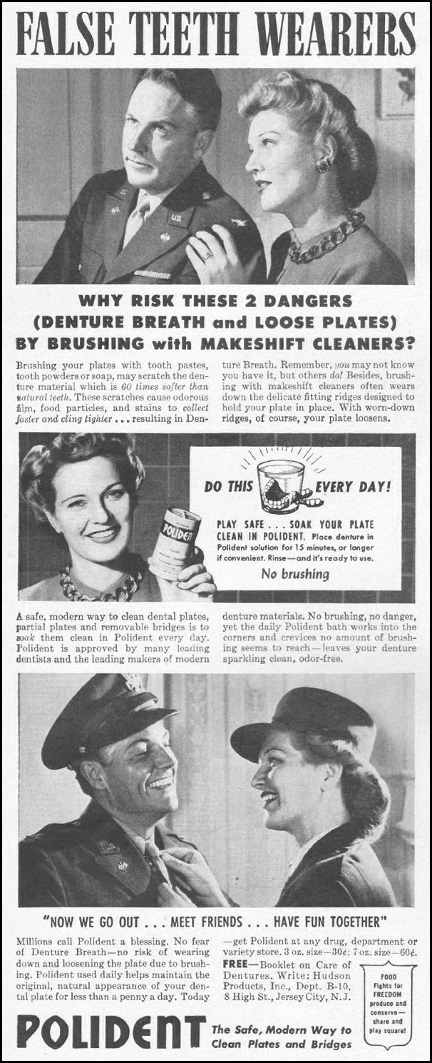 POLIDENT DENTURE CLEANSER LIFE 10/25/1943 p. 110