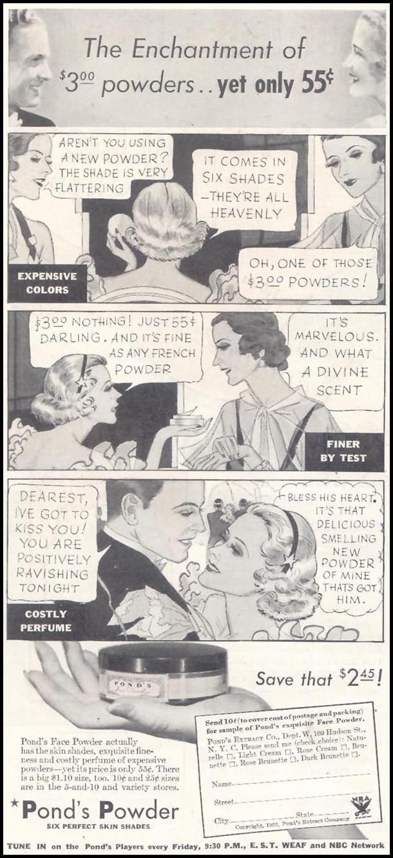 POND'S POWDER GOOD HOUSEKEEPING 11/01/1933 p. 122