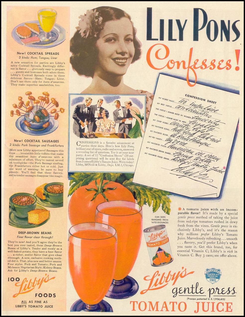 LIBBY'S GENTLE PRESS TOMATO JUICE LIFE 09/13/1937