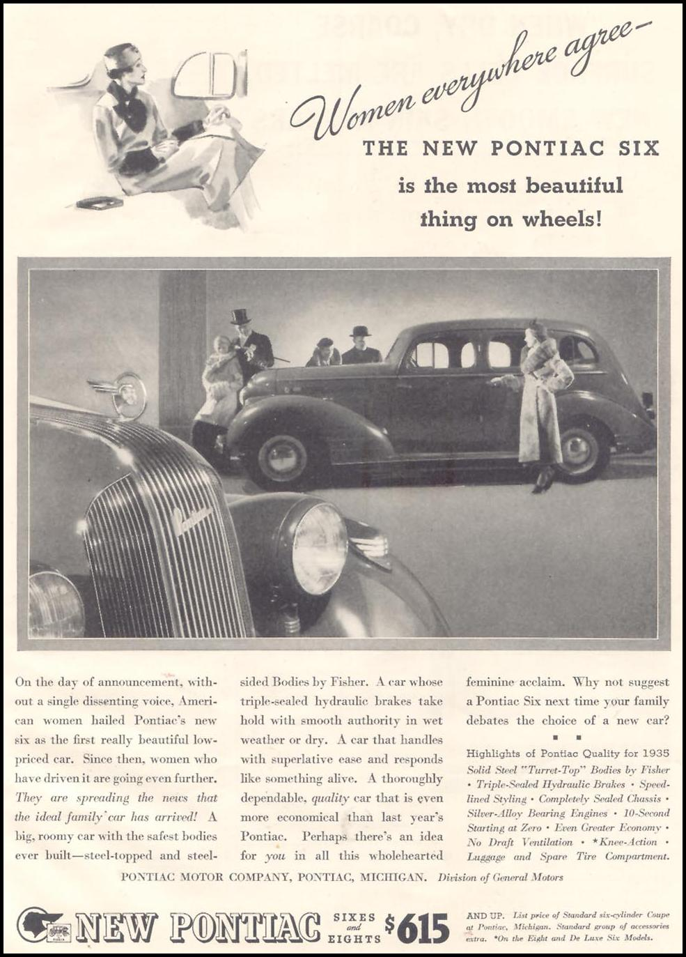 PONTIAC AUTOMOBILES GOOD HOUSEKEEPING 03/01/1935 p. 137