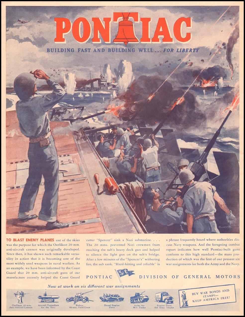 PONTIAC WAR PRODUCTION LIFE 10/11/1943 p. 24