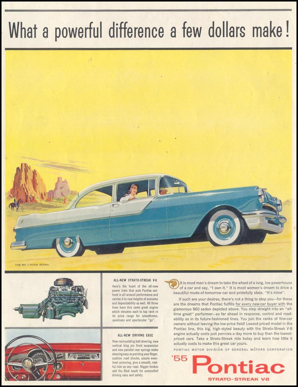 PONTIAC AUTOMOBILES SATURDAY EVENING POST 01/08/1955